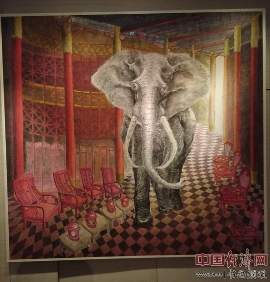 韦申超绘画《房中的圣象》180×180cm