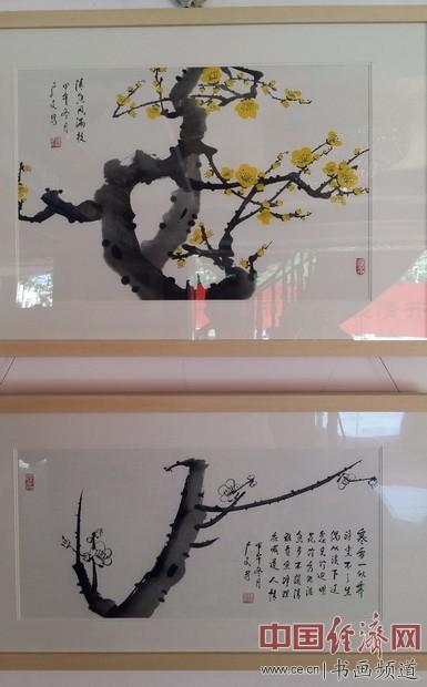 现场展出的陈广文绘画作品 中国经济网记者李冬阳摄