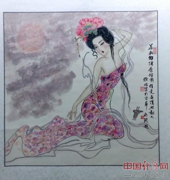 现场展出的朱维杨绘画作品 中国经济网记者李冬阳摄