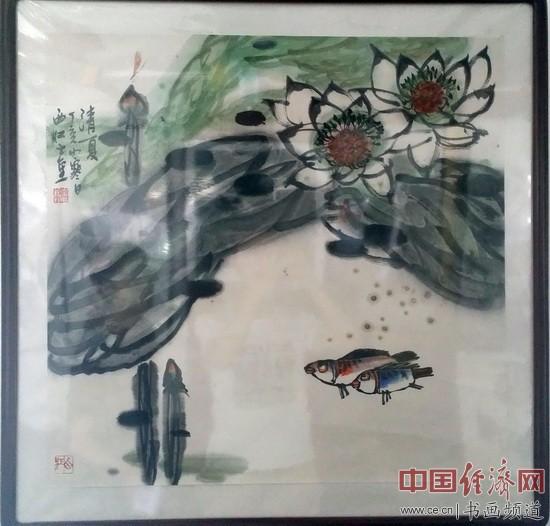 现场展出的陈士奎绘画作品 中国经济网记者李冬阳摄