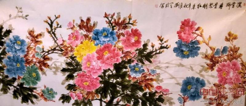 刘天明彩色牡丹国画