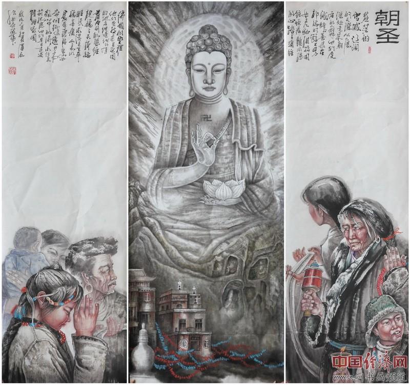 国画大家李泽存原创巨幅国画作品《朝圣》