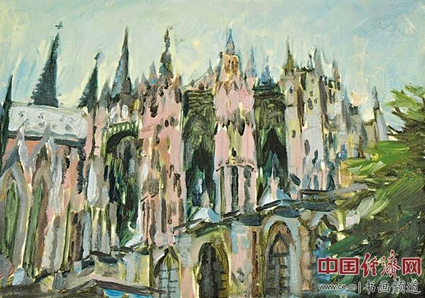 李光烈绘画《德国科隆大教堂》