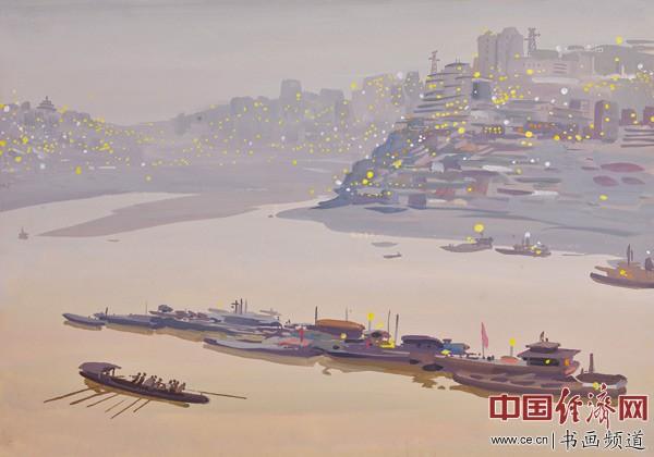 李光烈绘画《华灯初上的嘉陵江》
