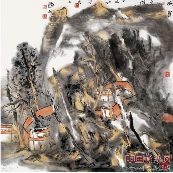 贾荣志山水画《秋山带夕阳》
