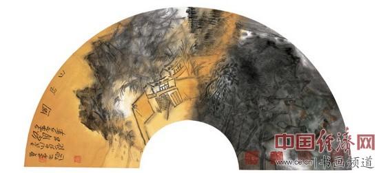 贾荣志山水画《山居图(扇面)》