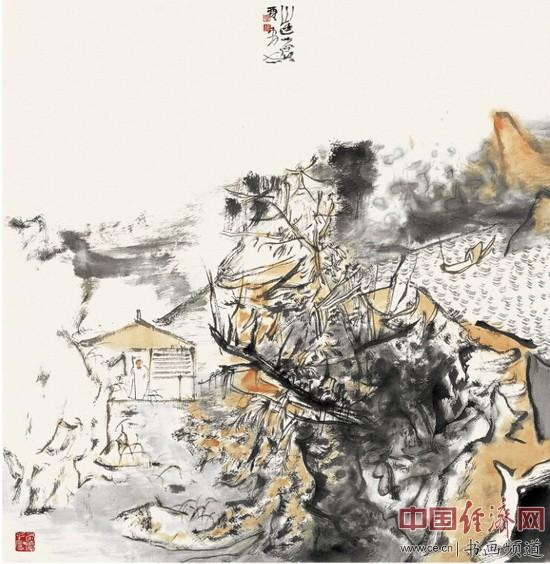贾荣志山水画《山色苍苍》