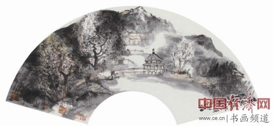 贾荣志山水画《泰山写生(扇面)之二》