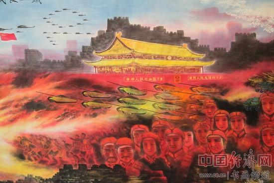 国画大家白雪狼创作的巨幅国画《铁血长城卫和平》(局部)