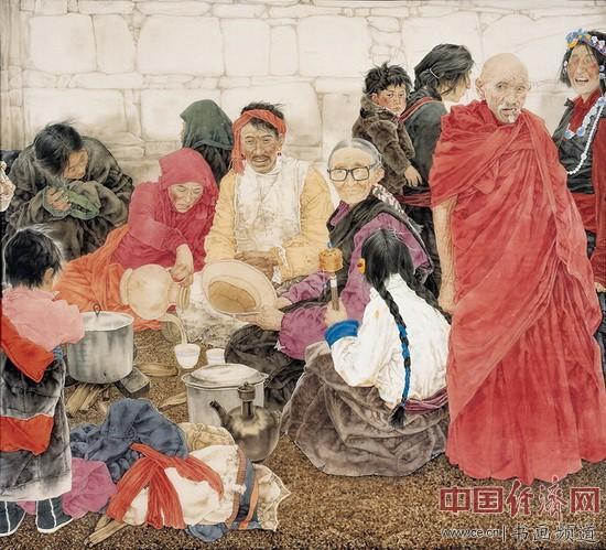 王根生绘画《朝圣者的聚餐》124×150cm 1999