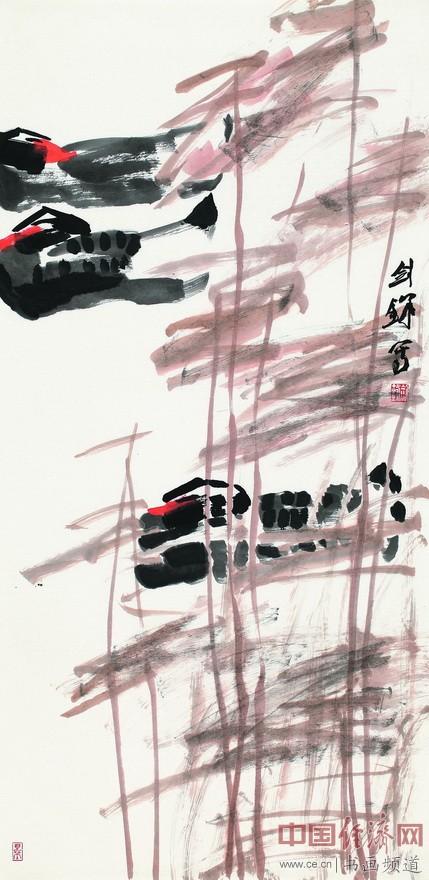 张剑锋《只在芦花浅水边》纸本设色  136cmX68cm  2016年