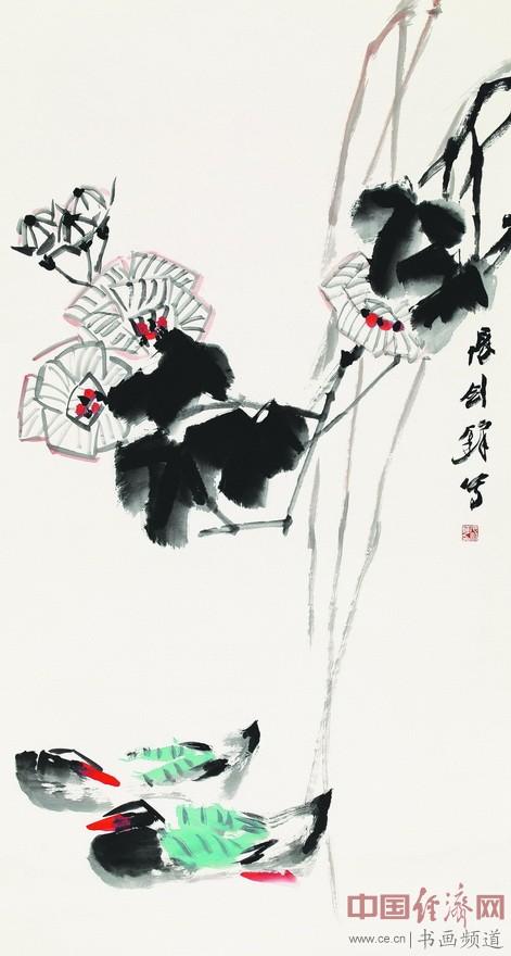 张剑锋《富贵双骛》180cmX96cm  纸本设色  2014年