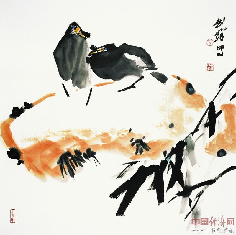 张剑锋《相依》68cmX68cm  纸本设色  2012年