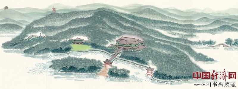 杭州西子宾馆内悬挂的陈家泠作品《西湖景色》(2米乘5米)许根顺摄
