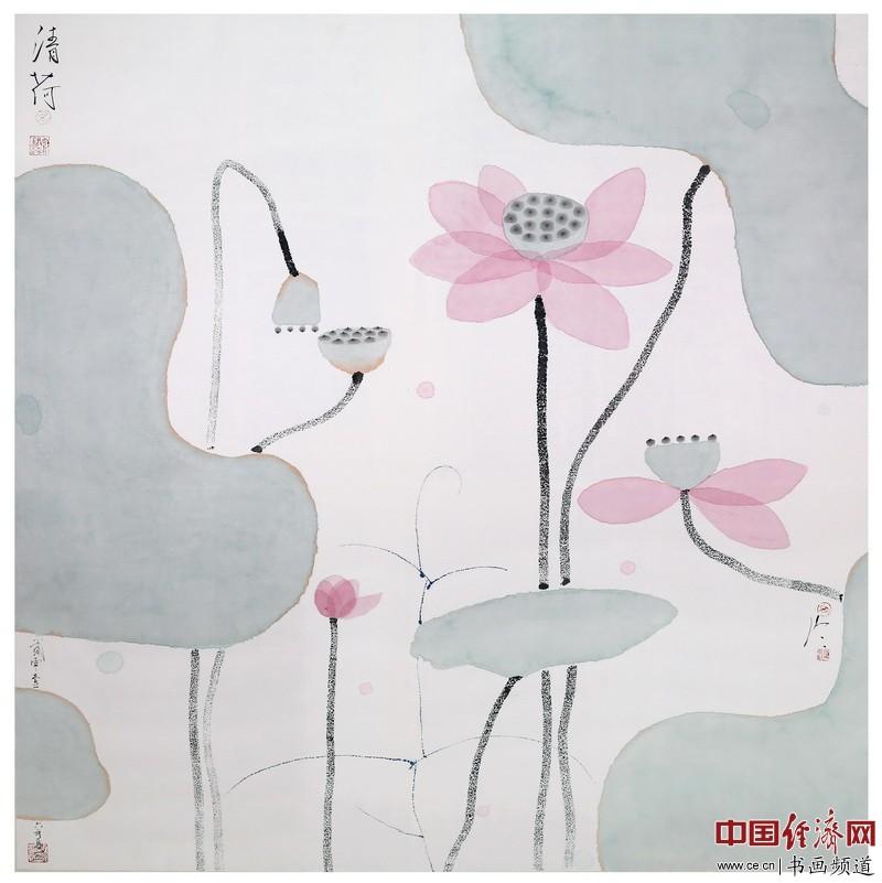 杭州西湖国宾馆水上餐厅悬挂的陈家泠作品《清荷》(2米乘2米)许根顺摄