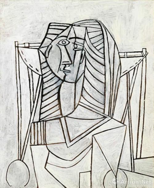 巴布罗 ・ 毕加索 (Pablo Picasso) 《白色背景扶手椅上的女子坐像》 油彩画板