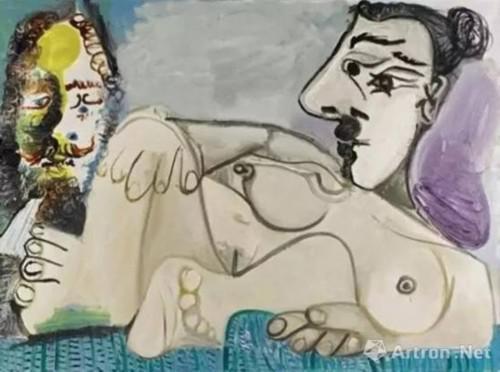 欧洲私人收藏 巴布罗 ・ 毕加索 (Pablo Picasso) 《躺卧裸女与男子头像》油彩画布,