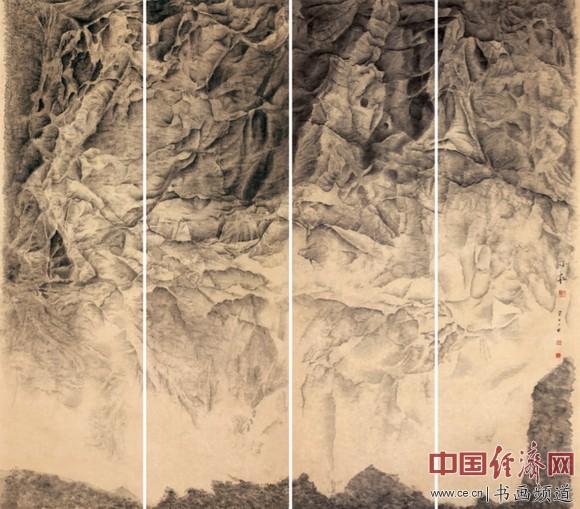 《瀑界(四联)》153×41.5厘米 绢本水墨2015年
